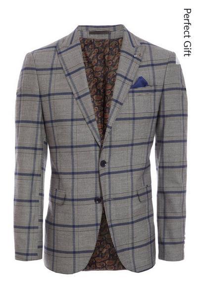 Grey/Blue Check Blazer